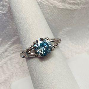 Jewelry - 1.6 Carat VVS1 Sky Blue Moissanite Ring, Size 7